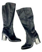 """Born Womens 7.5 Boots Esla Black Leather Esla Black Leather 3"""" Heel Knee High"""