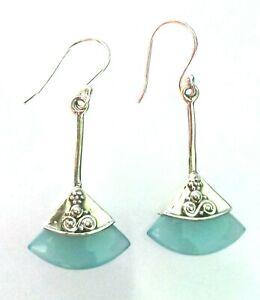 Natural Sky Blue Onyx Gemstone Hook Earring 925 Sterling Silver Woman Earring