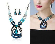 Dazzling Hot Moda Red Jewelry Sets Purple Enamel Statement Necklace And Earring