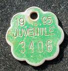 1995 Dog TAX Tag (Juvenile) #3406 ~ Tacoma, WA ~ FREE SHIP ~ lot s185