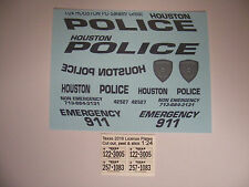 Houston Police Stealth Ghost 1:24 Water Slide Decals Put on all Black Charger
