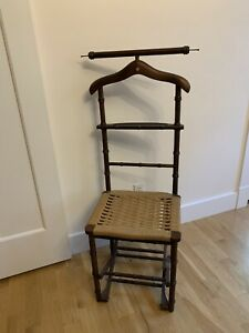 Mid C. Modern Italy Gentleman's Valet Chair Faux Bamboo Campaign Collapsible