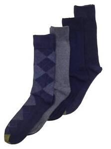 $45 Gold Toe Men 4 Pair Pack Gray Blue Argyle Cotton Crew Dress Socks Shoe 6-12