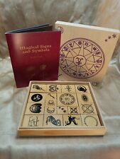 Magical Signs and Symbols 18 Rubber Stamps Wood Box Kit with Stamp Pad