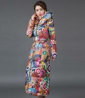 Women's Chic Floral Hooded Down Coat Jacket Thicken Down Maxi Parka Outwear New