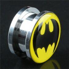 Ear Plug Tunnel Batman Hero Logo Screw Fit Surgical SteelBody Piercing 4 -12mm
