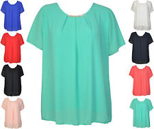 Damenbluse Chiffonbluse Bluse Shirt Tunika Top Langarm Chiffon Feier Italy 42 44