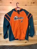 Reebok Size XL NFL Miami Dolphins Full Zip Embroidered Hoodie Vintage