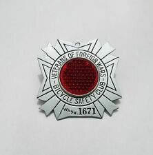 Vintage Veterans Foreign Wars Bicycle Safety Club Reflector Badge WA State VFW