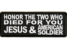 HONOR THE TWO WHO DIED FOR YOU Embroidered Vest Funny Saying Biker Patch Emblem
