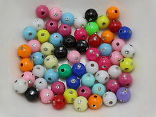 500 Mixed Colour Sparkling Silvertone Dots Acrylic Round Beads 6mm