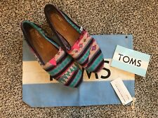 NEW Toms Classic Black/Pink/blue Blanket Aztec Knit Shearling Women's-7.5 TAMIN
