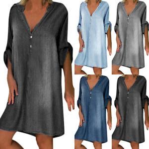 Women Summer Denim Shirt Dress Ladies Casual Baggy Holiday  Mini Tunic Dresses
