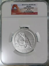 US 2014 ATB Arches National Park Quarter 5oz Silver Coin NGC SP70 Early Releases