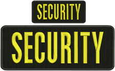 Security embroidery patch 4X10 and 2.x5 hook yellow