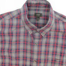 J. Crew Red/Blue/Gray Plaid Button Front Shirt, Men's Size M #334