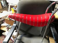 "Banana Seat RED + 24"" sissy bar NO POST Schwinn Columbia ALL METAL PAN bicycle"