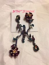 """$55 Betsey Johnson """"SURREAL FOREST FLOWER"""" With Crystal Dangle Earrings NWT"""