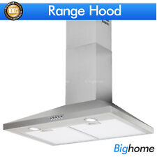 30 Inch Range Hood Wall Mount Stainless Steel Kitchen Stove Vent Fan LED Light