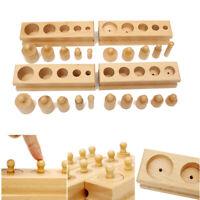 AU Montessori Knobbed Cylinder Blocks Wooden Family Kids Educational Edu Toy New