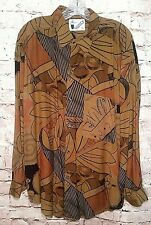 GOOUCH Abstract Vtg Men's Retro Shirt Sz Large Rayon Long Sleeve Brown Neutrals