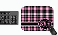 MONOGRAMMED MOUSE PAD COMPUTER PC RUBBER BACKED PINK PLAID