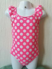 b0c820cc3219f New Girls Bright Pink Dotted Swimming Costume Swimsuit Swimwear 10-11  Beachwear