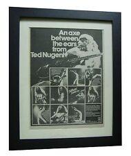TED NUGENT+Double Live+POSTER+AD+RARE ORIGINAL 1978+FRAMED+EXPRESS GLOBAL SHIP