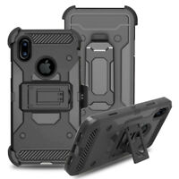 Hybrid Hard Armor Rubber Cover Rugged Holster Case Belt Clip For Apple iPhone X