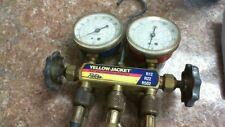 Yellow Jacket HVAC Test Charging 2 Valve Manifold Gauges R-12/22/502 w/Hoses