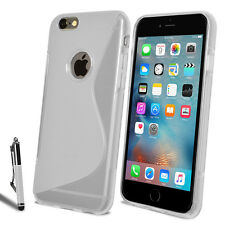 For iPhone SE 4 5 5S 5C 6 6S Slim Soft Silicone Gel Case Cover + Film + Stylus