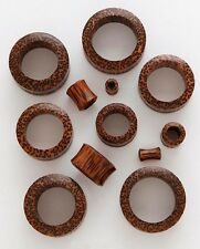 "1 Pair 5/8"" 16mm Coconut Organic Solid Exotic Wood Tunnels Plugs Ear Gauges 676"