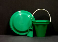 1 ea Green Beach Bucket Toy Shovel, Flyer, Dig You Sticker Made USA Lead Free