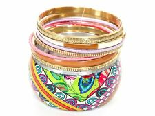 Women's Fashion Colorful Print Trendy Bangles Bracelet Set Mocha/Multi