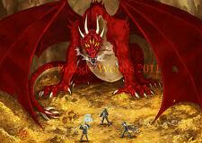 Red DRAGON lair D&D fantasy ACEO art print -  Brandy Woods
