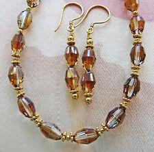 "TOPAZ PRECIOSA CRYSTAL VERMEIL necklace, earrings 18"""