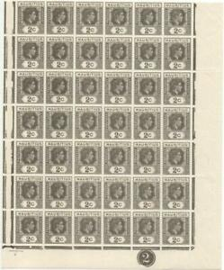 MAURITIUS: 1938-49 2c Olive-Grey Marginal Block of 42 with Plate No. (42748)