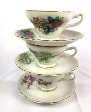 Lot of 3 Japanese Ceramic Tea Cup and Saucer Sets Vintage Matching Floral Motifs