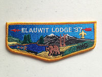 ELAUWIT OA LODGE 37 BSA SCOUT FLAP SERVICE PATCH YELLOW BORDER TOUGH