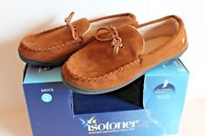 Isotoner Brown Men's Moccasin Memory Foam Slippers Size M 8 - 9 Slipper Shoes