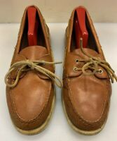 Sperry Top Sider Men 8.5 M A/O 2 Eye Boat Shoe Tan Beige Brown Leather 0532002