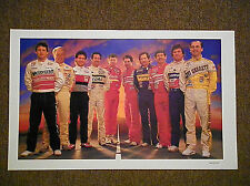 Vintage 1986 The Winston NASCAR Drivers Reprint Collectible Poster Man Cave
