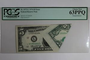 FR. 1973-L   1974 $5 PCGS  CU63PPQ  ERROR PRINTED FOLDOVER FEDERAL RESERVE NOTE