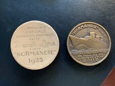 médaille paquebot normandie french line cgt ocean liner 1935