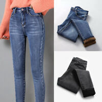 Women Winter Warm Fleece Lined Stretch Skinny Slim Denim Jeans Pants Trousers