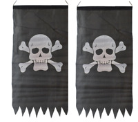 2 x PIRATE JOLLY ROGER SKULL & CROSSBONES FLAG 86 x 43cm PARTY PENNANT BUNTING