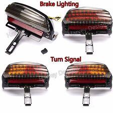 Smoke Tri-Bar Fender LED Tail Light With Turn Signal Bracket For Harley Softail