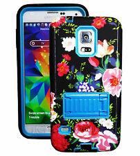 Flower 2 layer w Built in Screen Protector Case For Samsung Galaxy S5 Blue & BLK