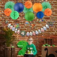 Dinosaur Theme Birthday Party Banner Cake Topper Swirl Lantern Fan Honeycomb Pin
