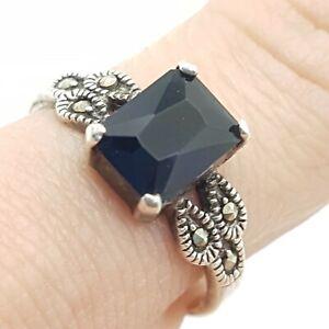 Vtg Sterling Silver Ring - Baguette Cut Blue Stone & Marcasite - UK Size M -